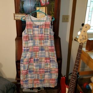 LL Bean Sleeveless Madras Dress